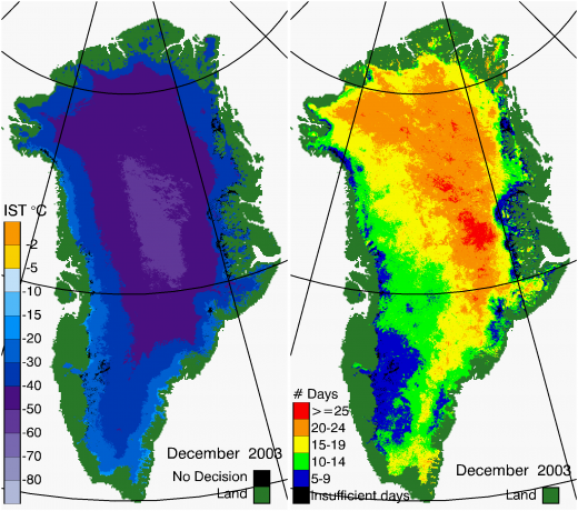 Greenland Surface Temp 12/2003