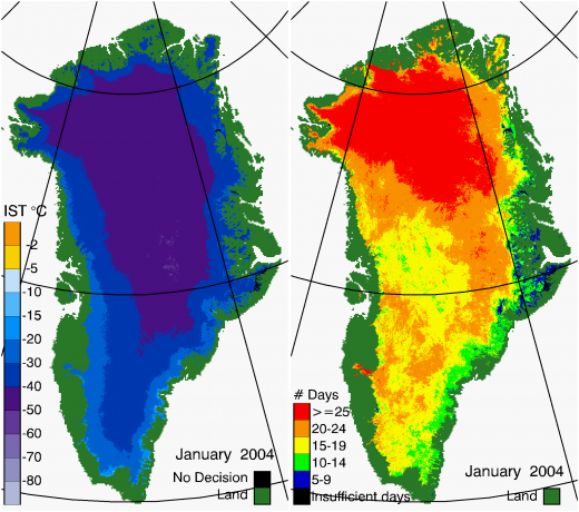 Greenland Surface Temp 01/2004