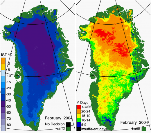 Greenland Surface Temp 02/2004
