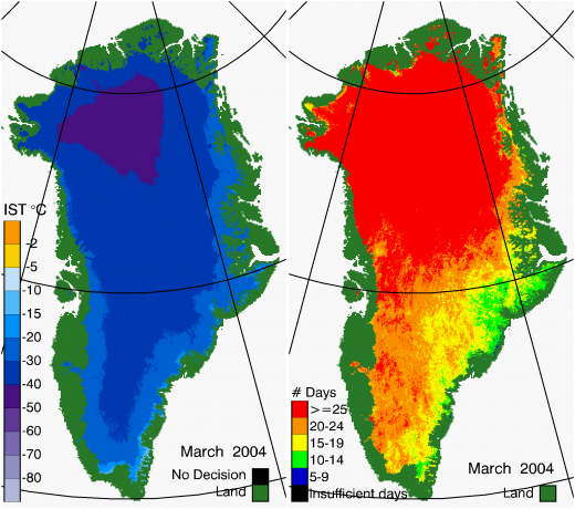 Greenland Surface Temp 03/2004