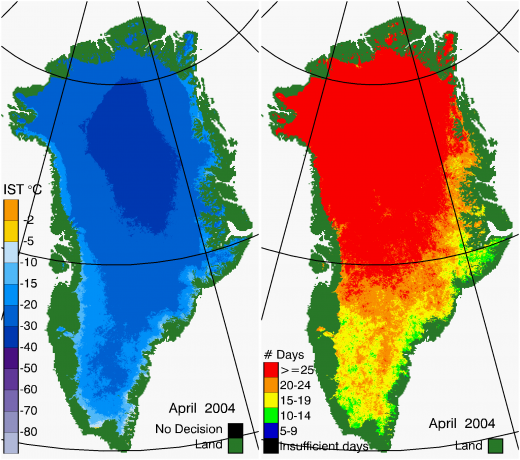 Greenland Surface Temp 04/2004
