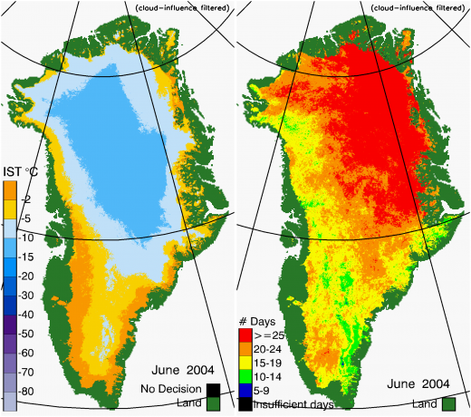 Greenland Surface Temp 06/2004