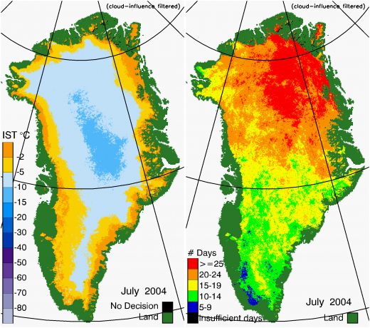 Greenland Surface Temp 07/2004