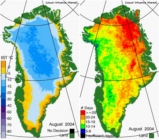 Greenland Surface Temp 08/2004