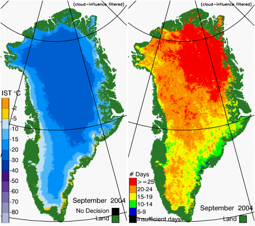 Greenland Surface Temp 09/2004