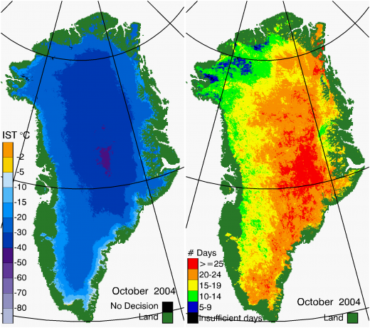 Greenland Surface Temp 10/2004