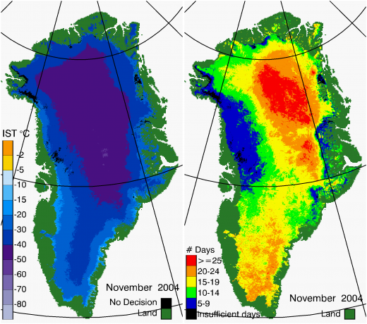 Greenland Surface Temp 11/2004