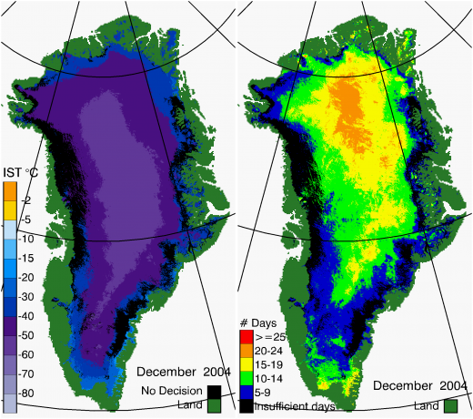 Greenland Surface Temp 12/2004