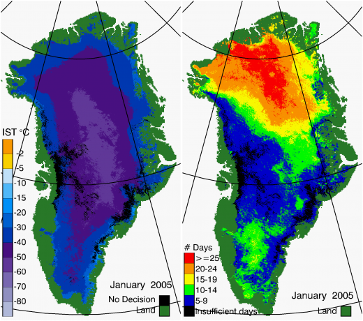 Greenland Surface Temp 01/2005