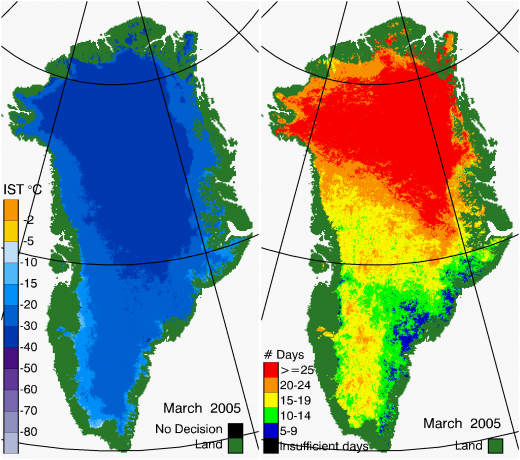 Greenland Surface Temp 03/2005