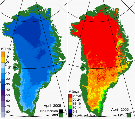 Greenland Surface Temp 04/2005