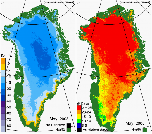 Greenland Surface Temp 05/2005