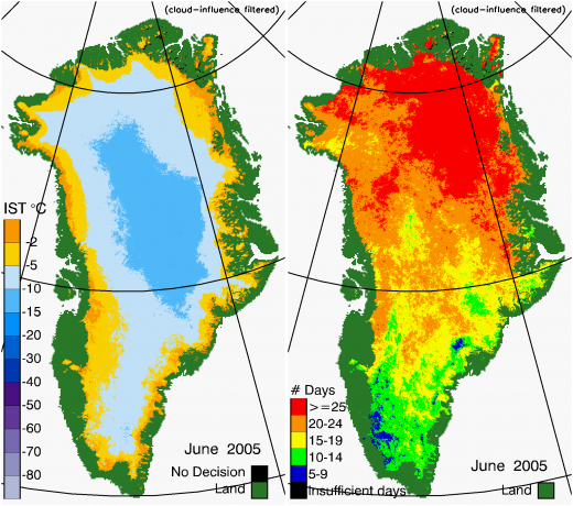Greenland Surface Temp 06/2005