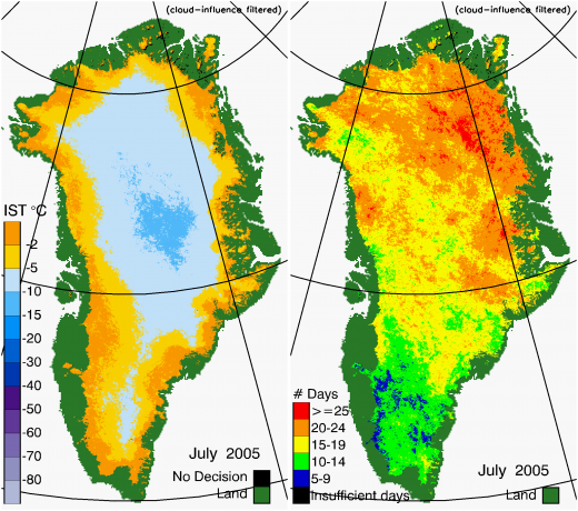 Greenland Surface Temp 07/2005