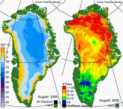Greenland Surface Temp 08/2005
