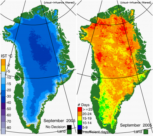 Greenland Surface Temp 09/2005