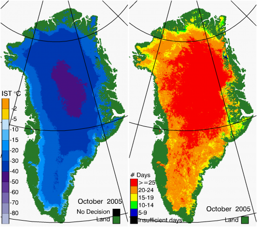 Greenland Surface Temp 10/2005