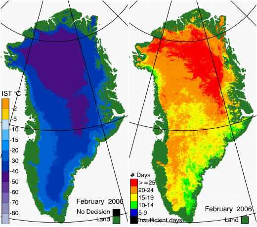 Greenland Surface Temp 02/2006