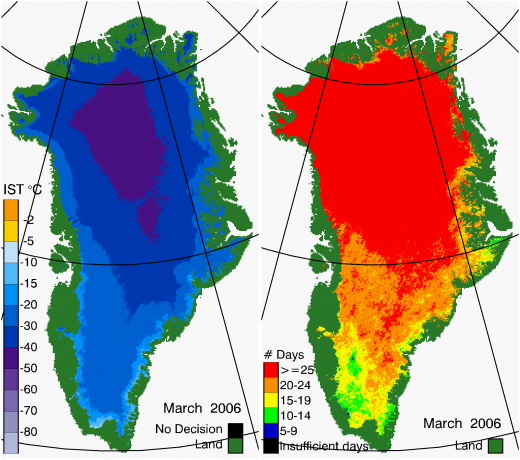 Greenland Surface Temp 03/2006