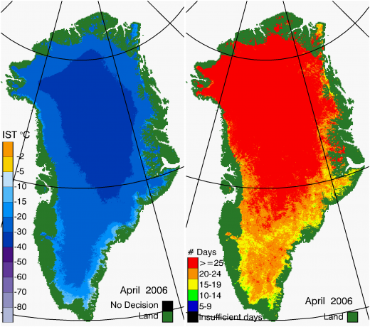 Greenland Surface Temp 04/2006