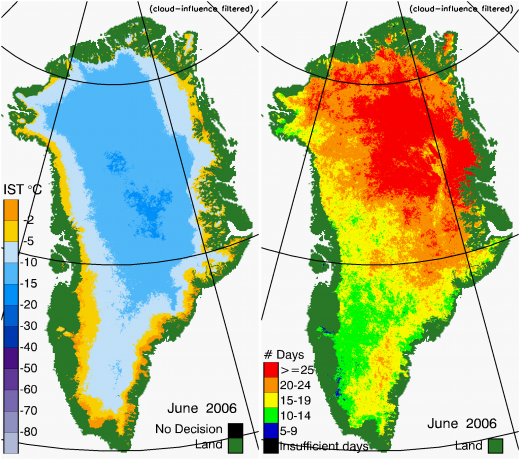 Greenland Surface Temp 06/2006