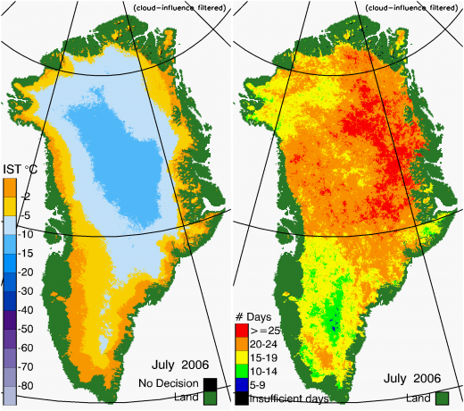 Greenland Surface Temp 07/2006