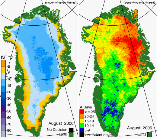 Greenland Surface Temp 08/2006