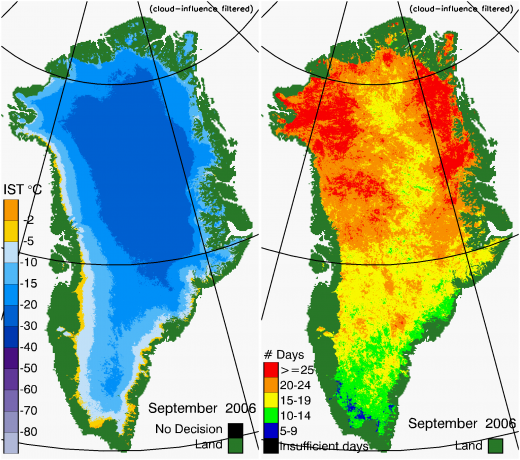 Greenland Surface Temp 09/2006
