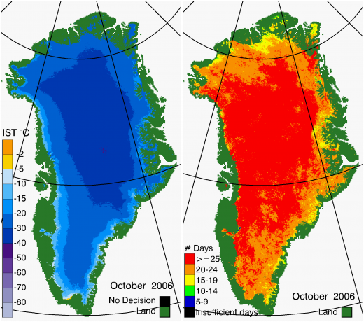 Greenland Surface Temp 10/2006