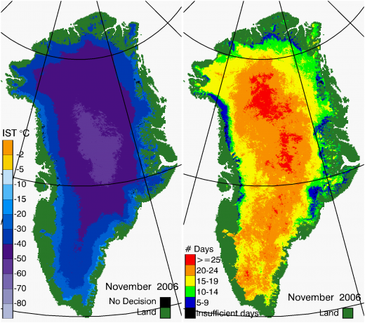 Greenland Surface Temp 11/2006