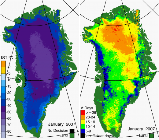Greenland Surface Temp 01/2007
