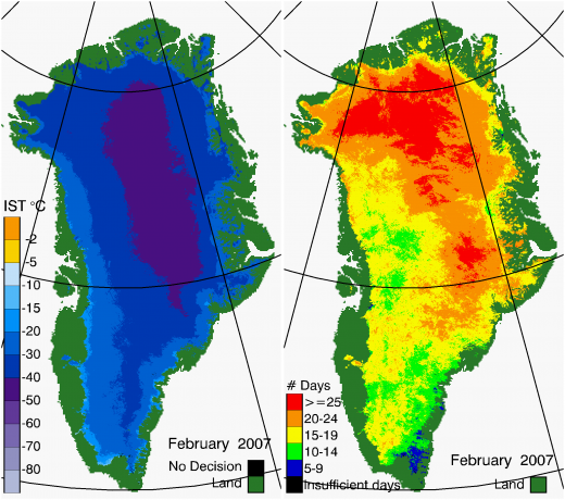 Greenland Surface Temp 02/2007