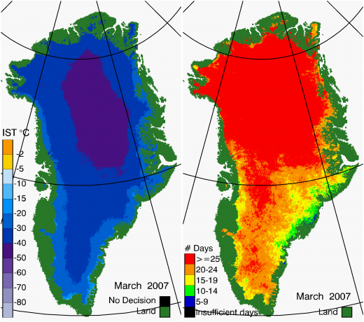 Greenland Surface Temp 03/2007