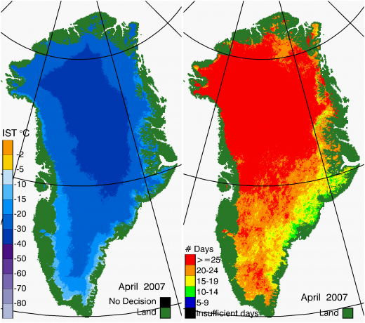Greenland Surface Temp 04/2007