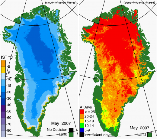 Greenland Surface Temp 05/2007