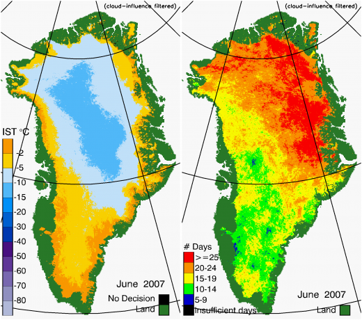 Greenland Surface Temp 06/2007