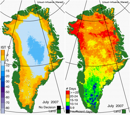 Greenland Surface Temp 07/2007