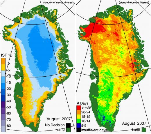 Greenland Surface Temp 08/2007
