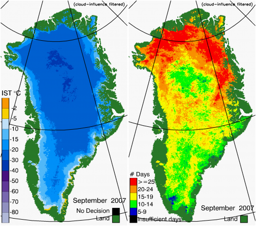 Greenland Surface Temp 09/2007