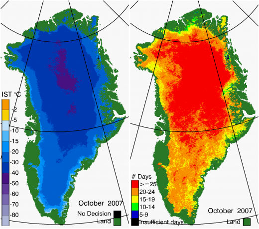 Greenland Surface Temp 10/2007