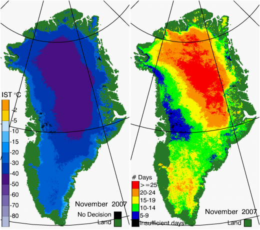 Greenland Surface Temp 11/2007