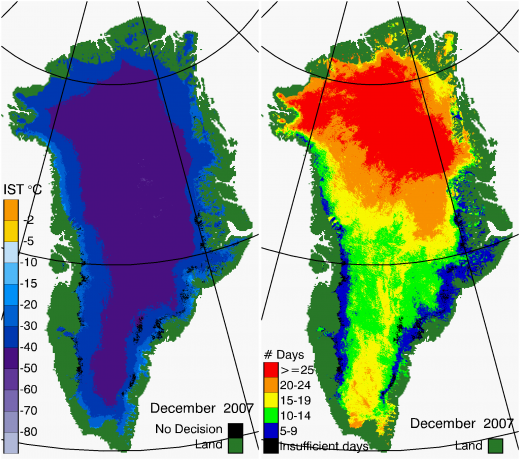 Greenland Surface Temp 12/2007