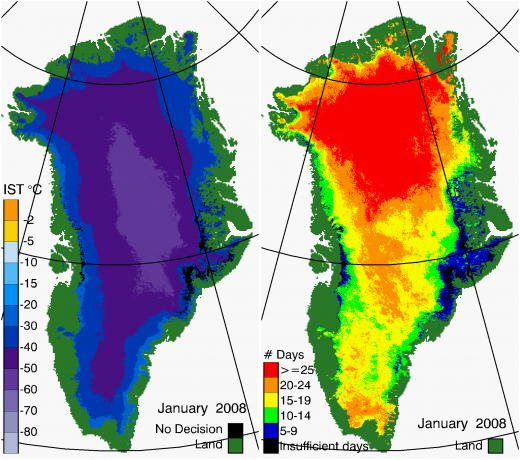 Greenland Surface Temp 01/2008