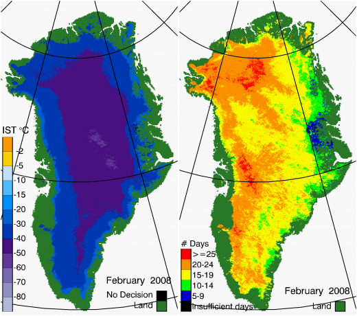 Greenland Surface Temp 02/2008