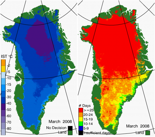 Greenland Surface Temp 03/2008