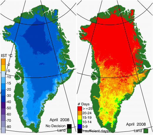 Greenland Surface Temp 04/2008
