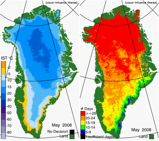 Greenland Surface Temp 05/2008