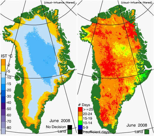 Greenland Surface Temp 06/2008