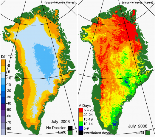 Greenland Surface Temp 07/2008