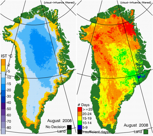 Greenland Surface Temp 08/2008